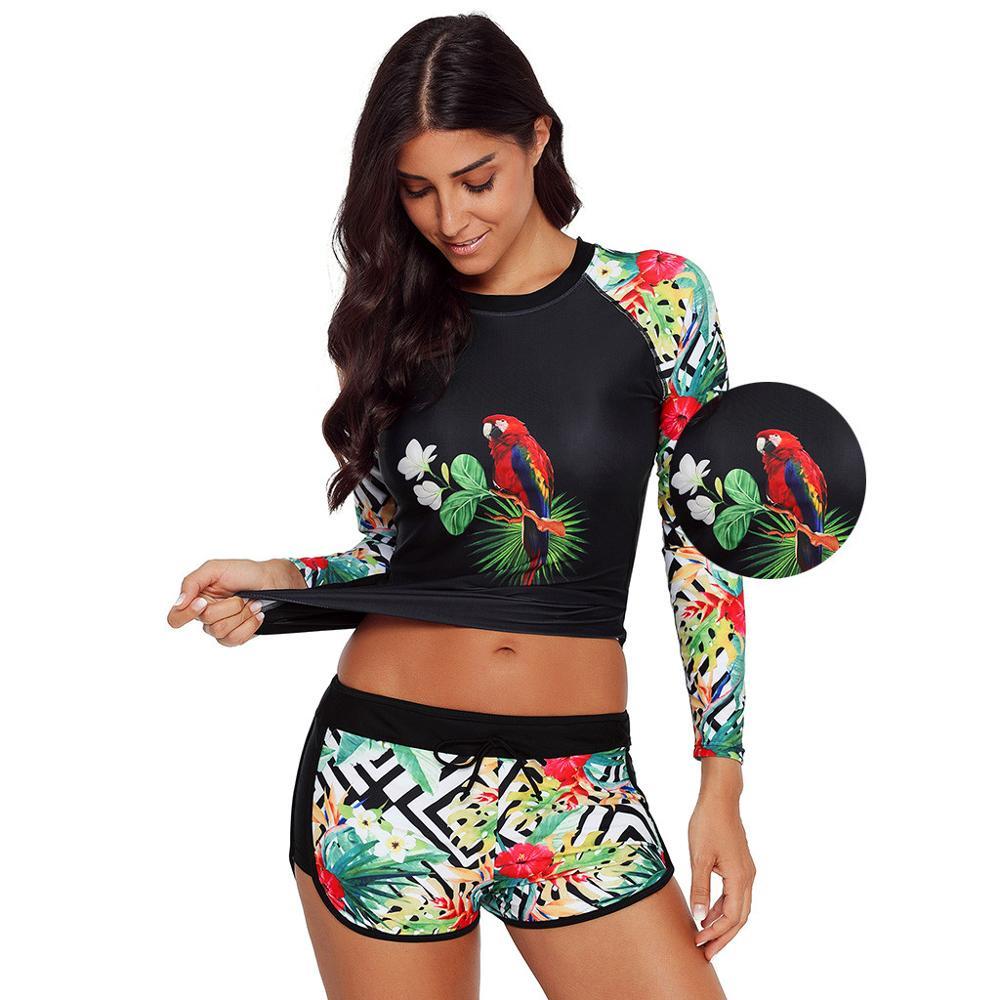 Womens Swimsuits Ladies Long Sleeve UV Sun Protection UPF 50+ Rash Guard Top 2 Piece Swimsuit Set Female Clothing Surf Suit