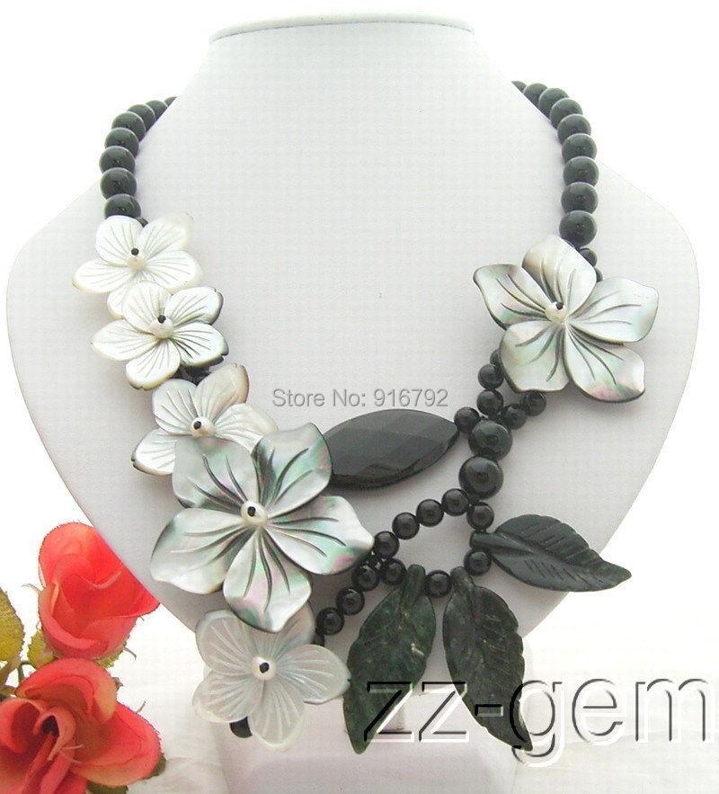 YH @ CS> collar de flores de ónix y concha-Cierre de palanca de ónix