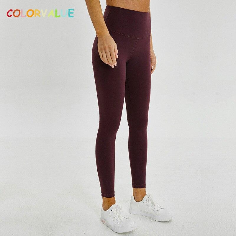 Спортивные брюки для фитнеса Colorvalue, спортивные брюки для фитнеса большого размера с высокой талией, тянущиеся колготки для бега в тренажерном зале из нейлона + спандекса, штаны для йоги