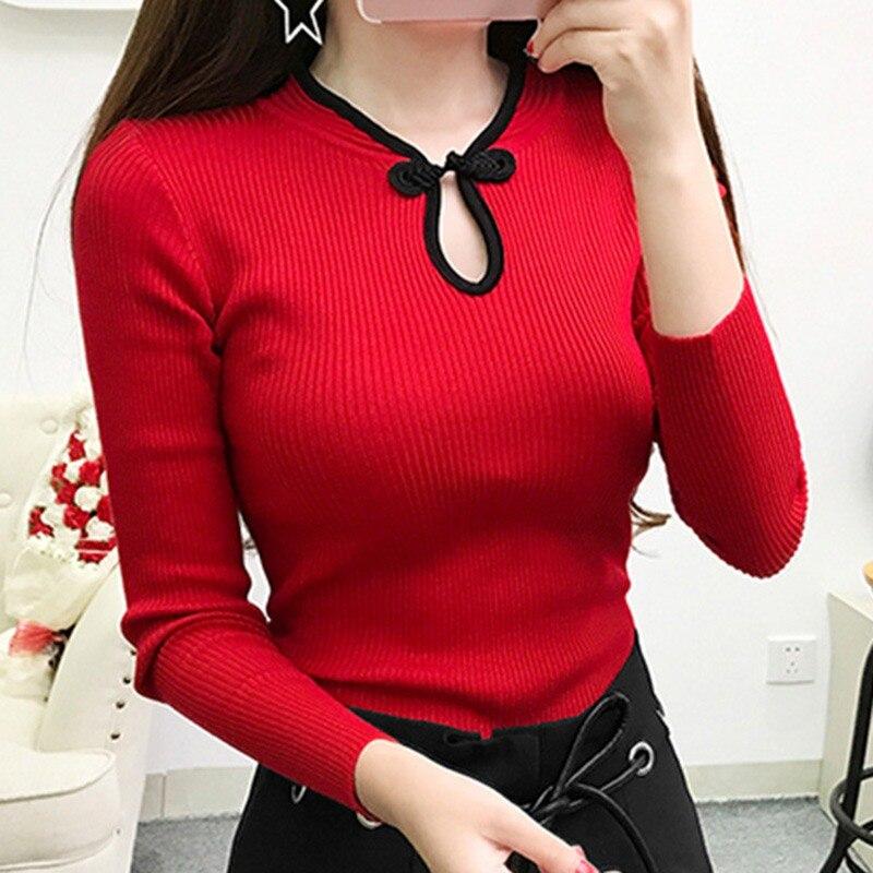 Elegante Jersey Cheongsam de cuello alto para mujer, suéter Vintage de manga larga, suéter, suéter de otoño, nueva moda, suéter tejido, Tops