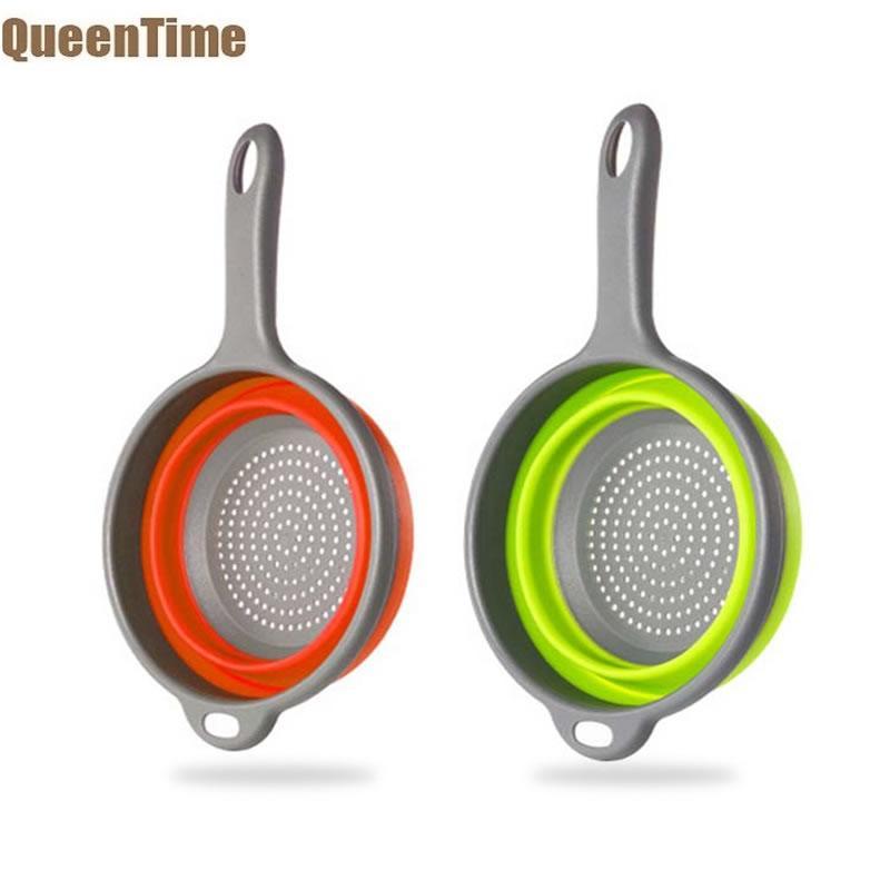 QueenTime plegable de silicona colador de frutas y vegetales Pasta limpieza tamiz colador limpiador de filtro de malla de utensilios para filtro de cocina