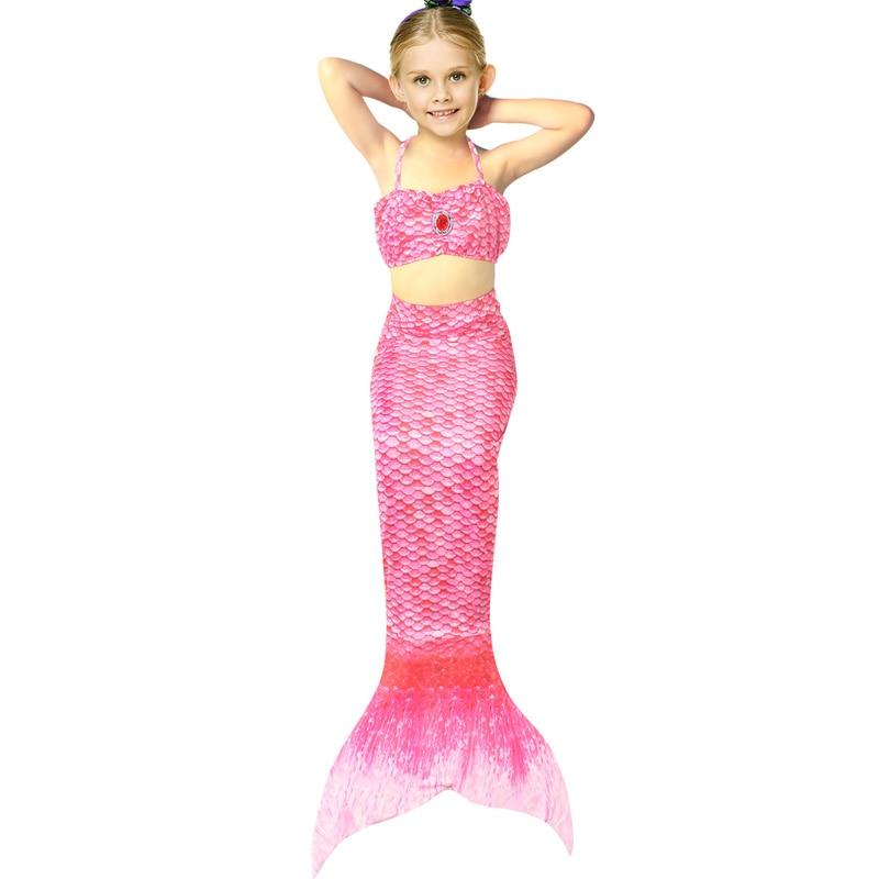 Summer Mermaid Baby Girl Swimwear Suits for 4-12 Years Girls Strapped Tops+Fishtail Two Piece Beachwear Mermaid Cosplay Costume