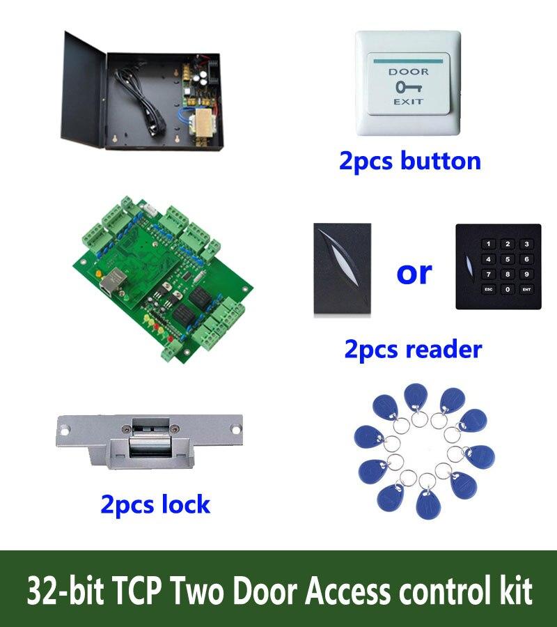 RFID de 32-bits de control de acceso kit TCP/ip control de acceso de dos puertas + powercase + strike lock + lector de identificación + botón de salida + 10 ID etiqueta ¡sn kit-T201