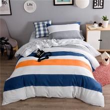 Cartoon style bedding sets 3pcs Twin size 100%cotton plaid duvet cover+bedsheet+pillowcase linen bedcover set 28