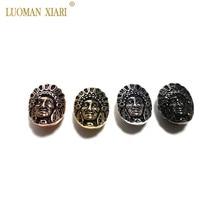 Großhandel 5 stücke Kupfer Hexe Kopf Porträt Zirkon Perlen DIY Mode Armband CZ Spacer Perlen Charms Anhänger für Schmuck Machen