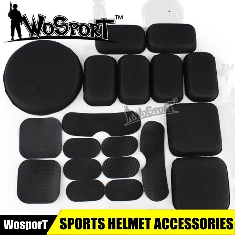 Táctico casco Airsoft accesorios Cs casco cojines EVA 19 Uds de rápido/ACH/MICH/de la motocicleta del casco negro