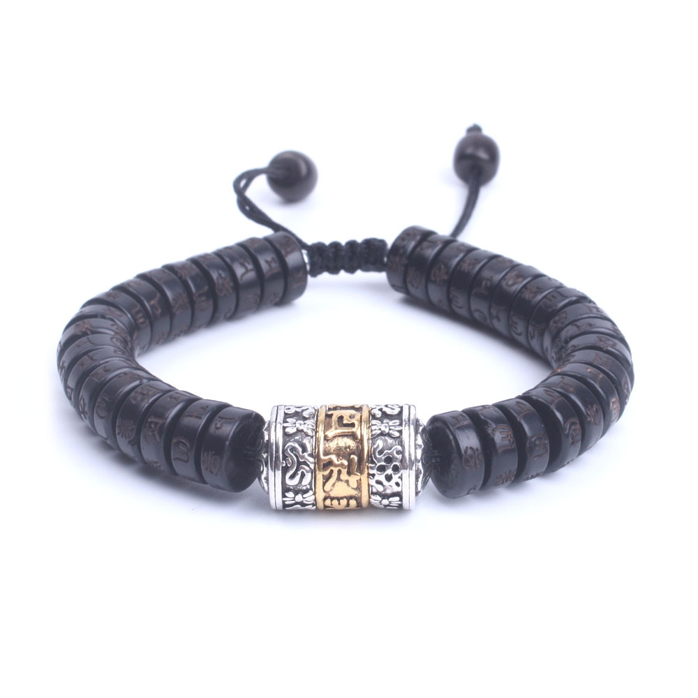 Natural de Coco shell beads Mantra OM Mani Padme hum com metal beads Sinal Pulseira Artesanal Tibetano Budista jóias dropship