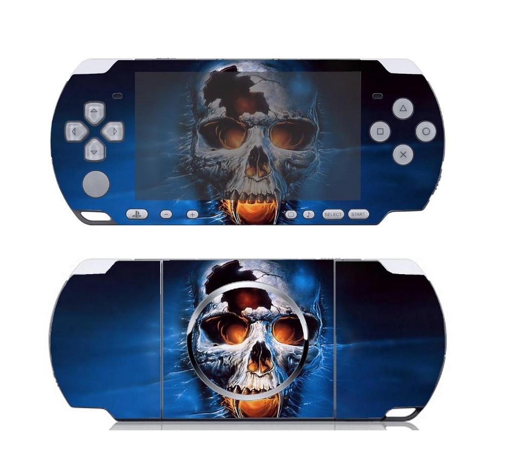 Etiqueta de protección de piel de vinilo con calavera azul 108 para Sony PSP 3000, pegatinas de pieles para PSP3000