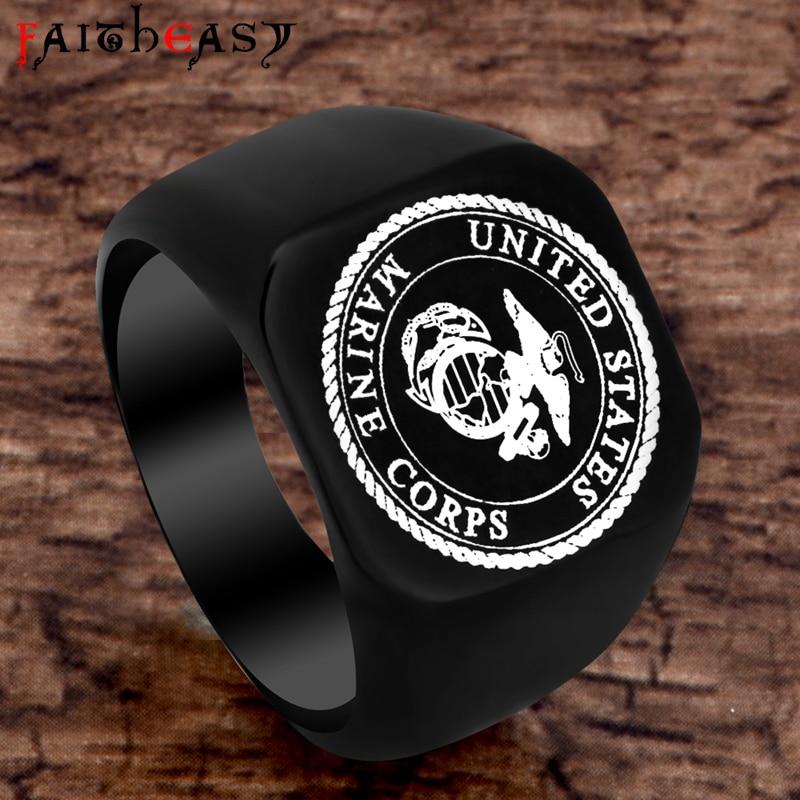 FAITHEASY Fashion USMC Stainless Steel Ring Men US Army Marine Corps Titanium Punk Biker Ring Charm Jewelry Rings Drop Shipping