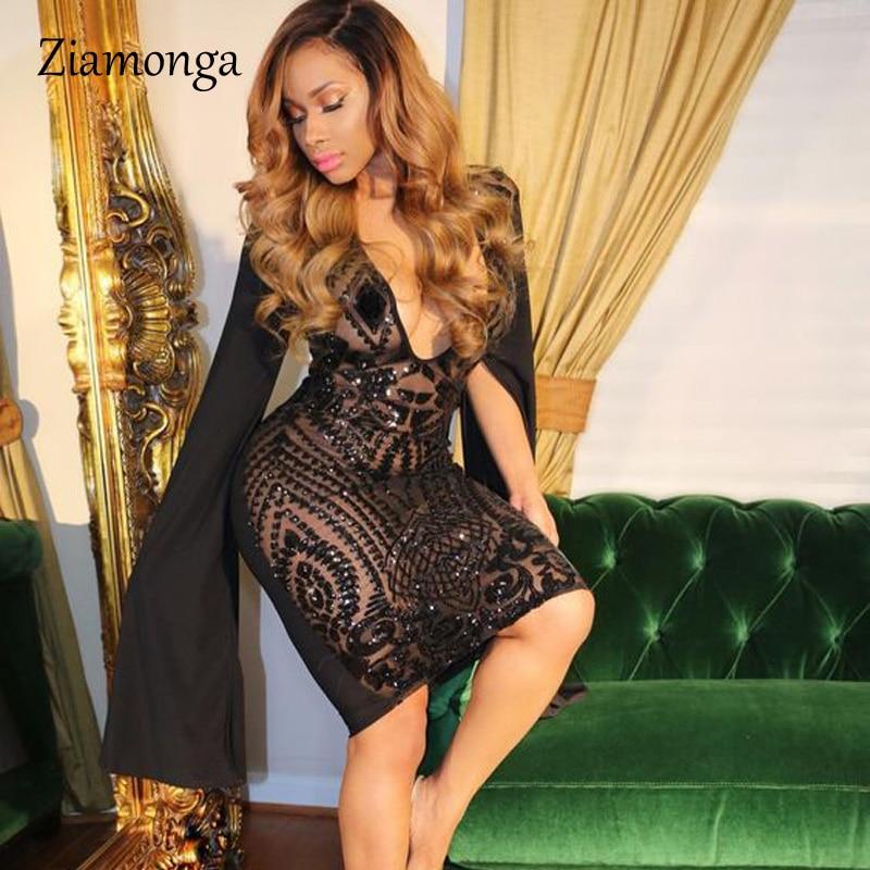 Ziamonga mujeres lentejuelas vendaje vestido Club negro Vintage profundo V cuello Bodycon Vestido de manga larga vestido Sexy 2018 invierno vestidos