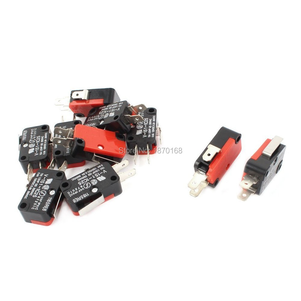 10 Pcs V-151-1C25 Limit Switch mikro, SPDT NO NC aksi jepret 16A AC 125V / 250V
