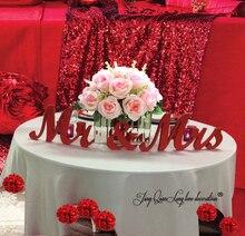 Деревянные буквы красный мистер и миссис буквы свадебные украшения стола, автономных красный мистер и миссис знаки для милая Таблица