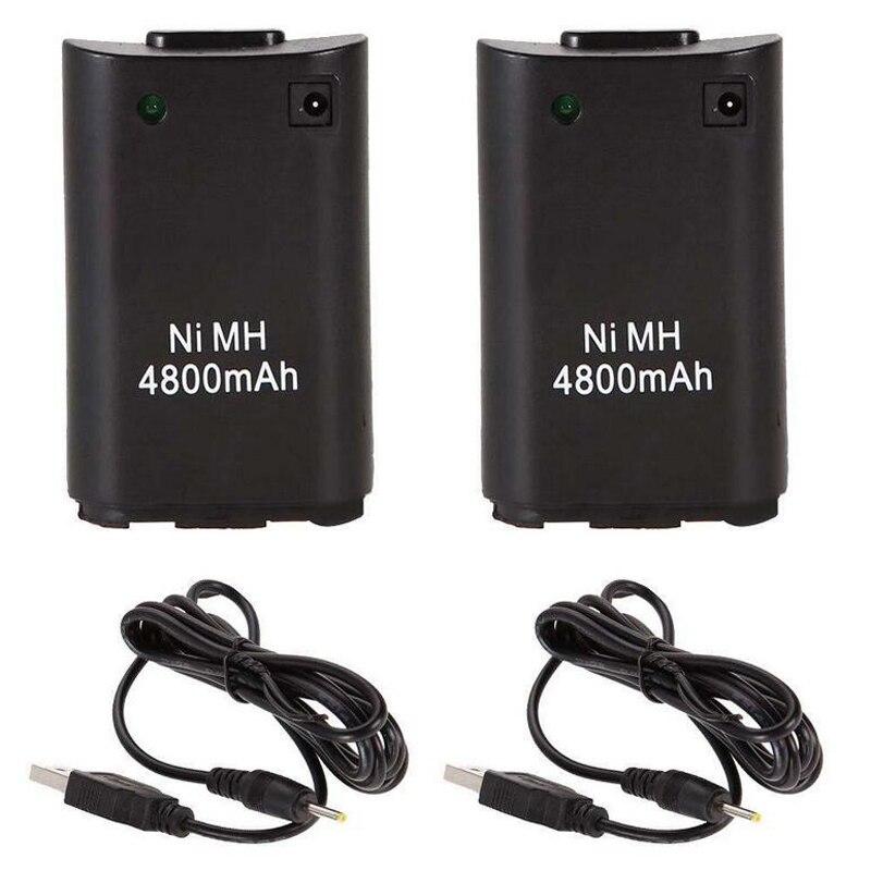 2x4800 mAh بطارية + كابل الشاحن ل Xbox 360 أداة تحكم في الألعاب لاسلكية جيم ب بطارية حزمة Xbox 360 Bateria استبدال