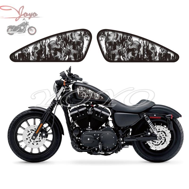 Наклейки на топливный бак для мотоцикла на заказ с изображением черепа и пламени, наклейки для Harley Sportster XL 883 1200 Iron Forty Eight seveny Two
