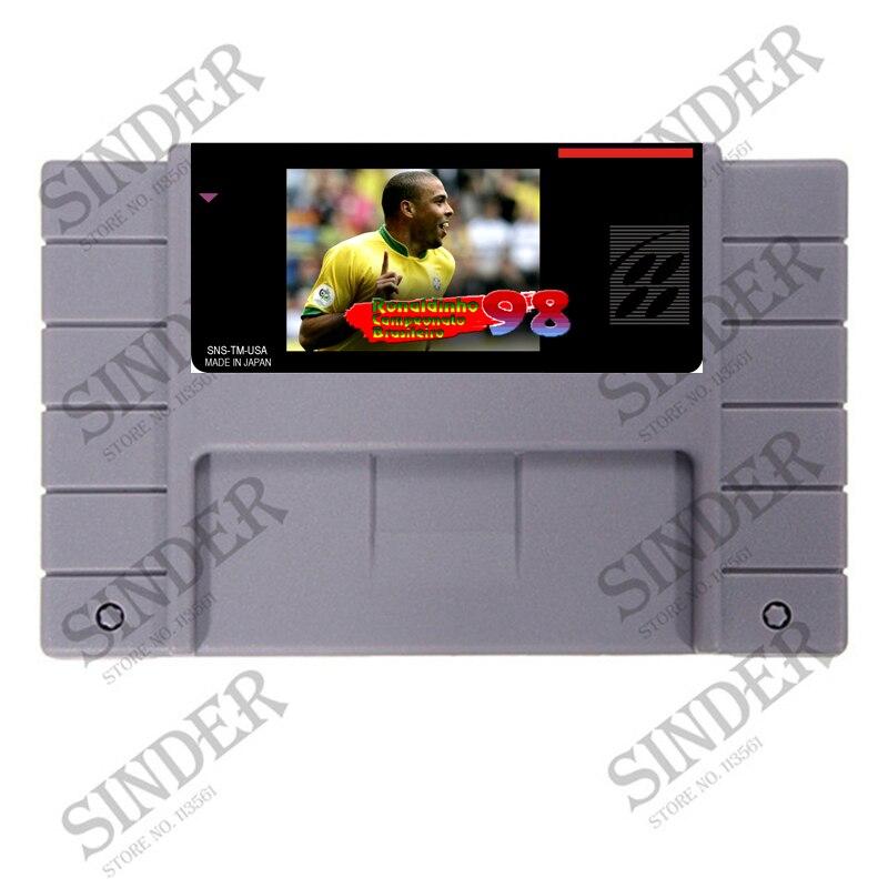 Tarjeta de juego gris grande de 16 bits Ronaldinho 98 para jugador de juego NTSC