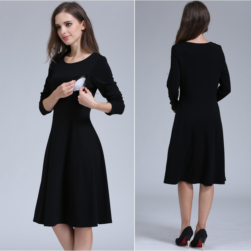 Emotion Moms Solid O-neck Long Sleeve Maternity Clothes Comfortable Breastfeeding Dresses for Pregnant Women Long dress enlarge