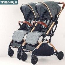 TianRui poussette pour jumeaux bébé poussette pliable portable chariot double poussette poussette dans lavion