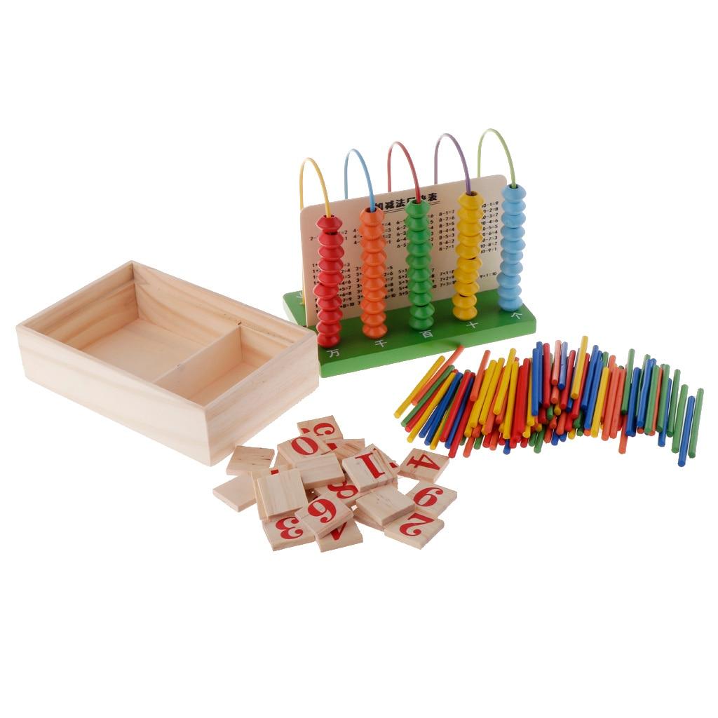 Ábaco multifuncional de madera que calcula los números del marco que cuenta el juguete aritmético de aprendizaje de matemáticas