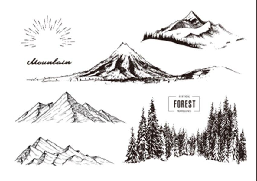 Las montañas cubiertas de nieve 1 sello claro para Scrapbooking goma de silicona transparente DIY foto álbum decoración s1256