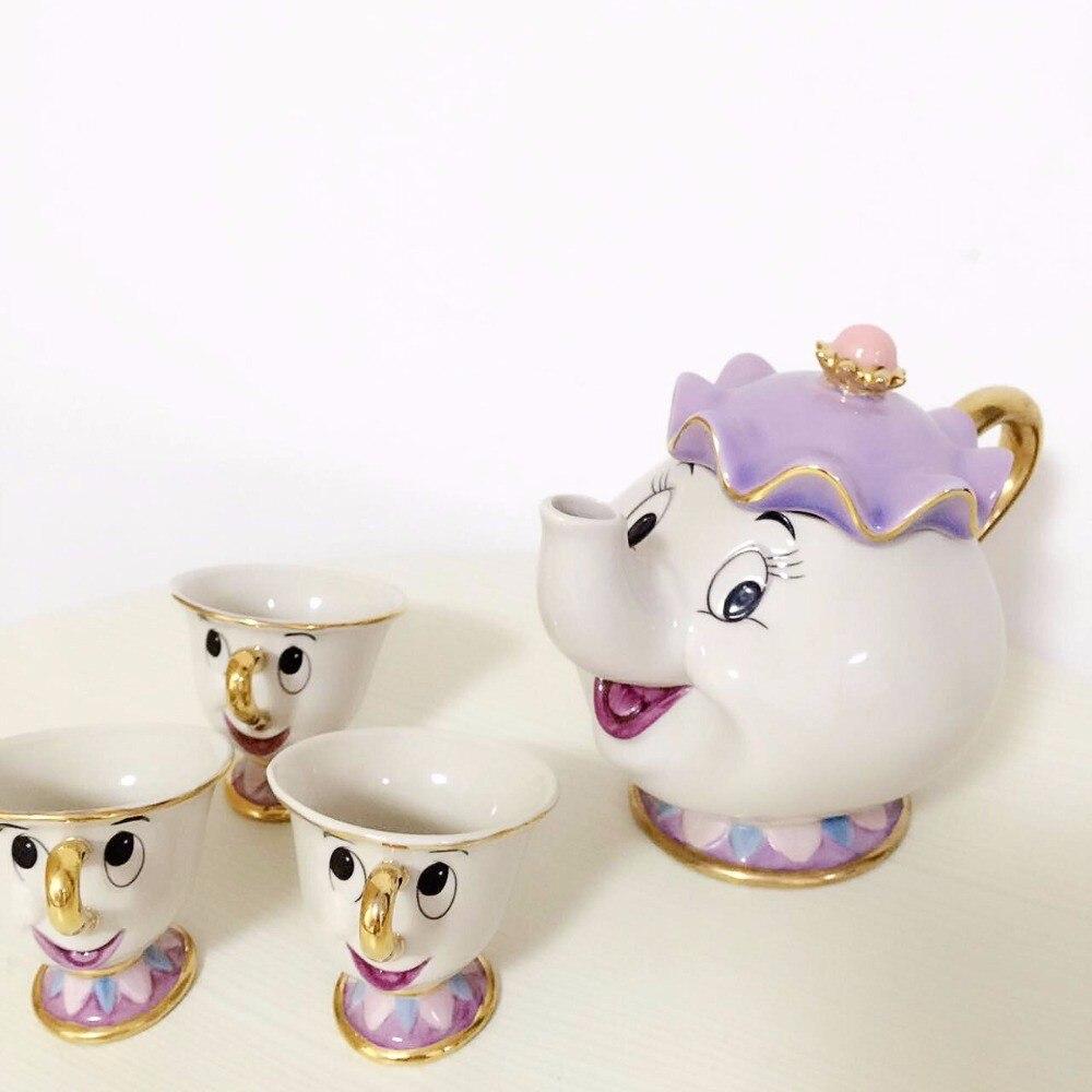 Горячая Распродажа, чайник в старом стиле с изображением красавицы и чудовища, кружка с чипом Mrs Potts, чашка для чая, один комплект, хороший рож...