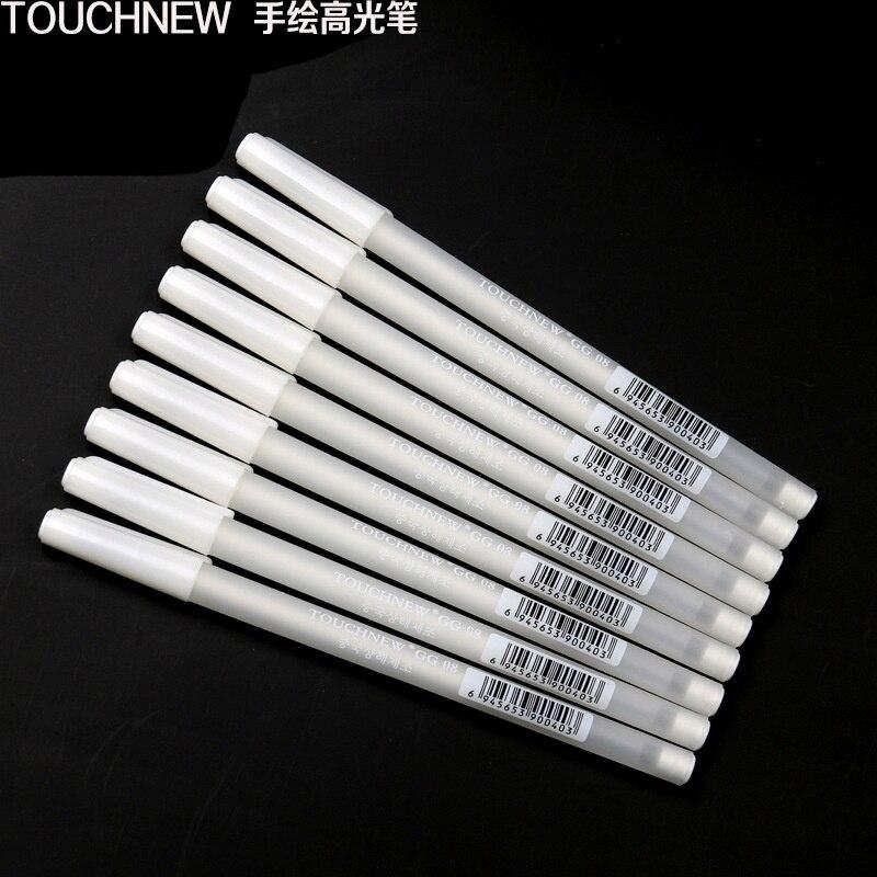 3pcsTouchnew pluma para resaltar tinta blanca licuadora marcador Micro pigmento arte gráfico plumas de tinta dibujar Anime dibujo suministros marcadores