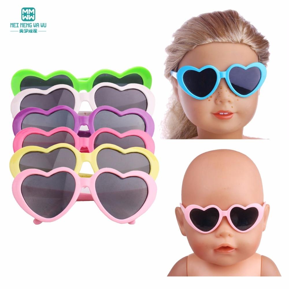 Мини-очки для новорожденных 43 см, 1 шт., аксессуары для кукол и американская кукла, пластиковые детские солнцезащитные очки с цветами и сердечком, разные цвета