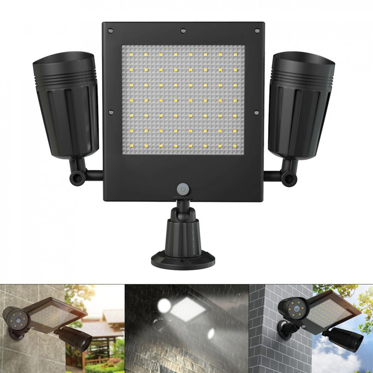 18650 3.7V 2000mAh 600LM Solar Double Spotlight 360 Degree Rotating PIR Motion Sensor Wall Light with for Outdoors / Courtyard