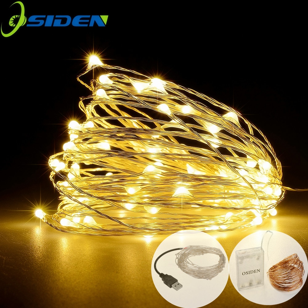 led strip 5m 10m led fairy light string outdoor garland christmas wedding party decoration usb battery operated silver copper LED Strip 2-10m 20-100 Led Fairy Light String Outdoor Garland Christmas Wedding Party Decoration Battery Operated silver Copper