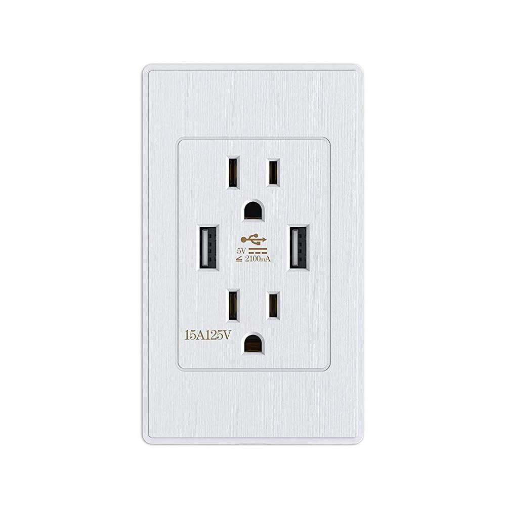 Enchufe USB doble de estilo estadounidense 120, toma de pared doble puerto USB adaptador de carga de corriente salidas PC Panel enchufe Universal con usb
