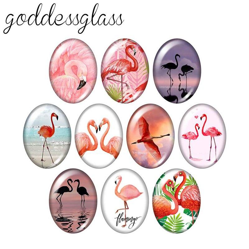 Animais flamingo aves pavão 10 peças misturadas 13x1 8mm/18x2 5mm/30x40mm oval foto de vidro cabochão demo plana volta fazendo descobertas