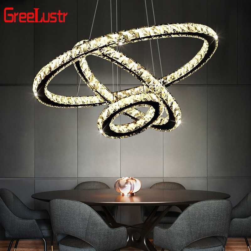 Modern Crystal Led Pendant Chandelier Lamp Luxury Diamond Hanging Lamp Mirror Stainless Steel Lighting Fixture Luminaire