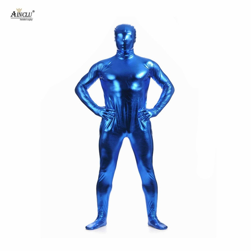 Ahot venda quente fullbody azul cola metálica zentai para hallween brilhante elastano elastano manga longa masculino sexy bodysuits