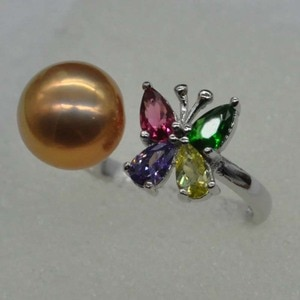 2020 New 9-10mm round rare freshwater pearl ring crystal butterfly