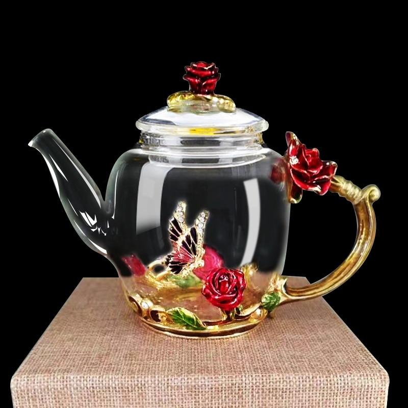 Bule de Vidro Flor de Vidro Bule de Chá de Alta Resistente ao Calor Pote de Chá de Vidro Presente do Dia dos Namorados Esmalte Luxo Cristal Rosa Qualidade 280ml