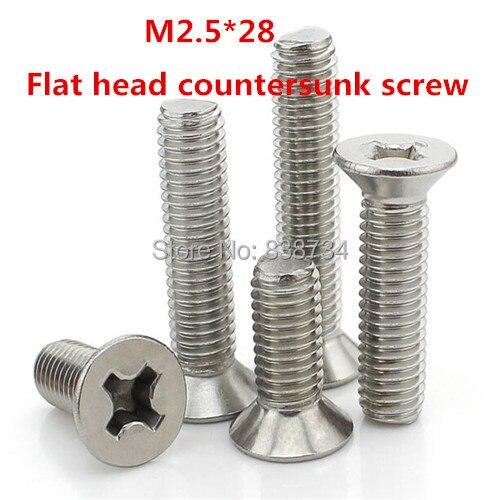 100 piezas m2.5 * 28 304 tornillo de máquina de cabeza avellanada plana de acero inoxidable