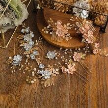 Elegant Luxury Purple Flower Bridal Hair Combs Headdress Prom Wedding Hair Accessories Gold Leaves Hair Jewelry Pearl Hair Pins