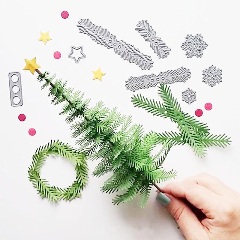 Árbol de Navidad hojas Pincone Metal juego de troqueles de corte Stencil regalo de Navidad papel de álbum de recortes tarjeta haciendo DIY decoraciones de Navidad
