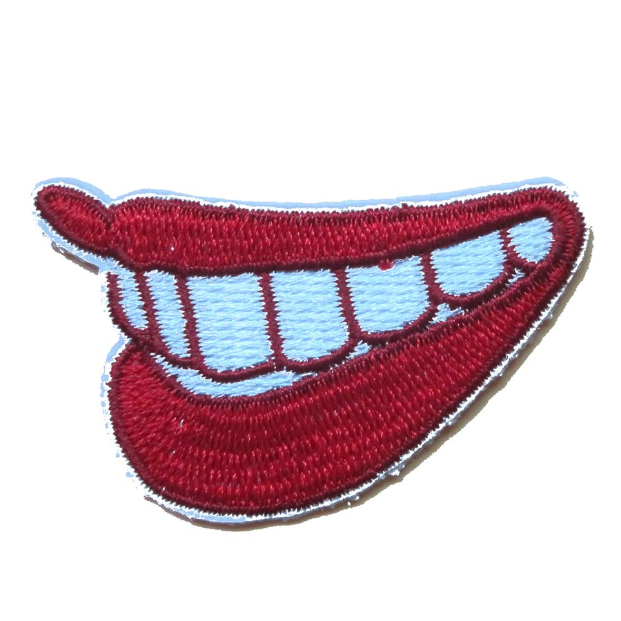 Parches de 2018 para calcomanías para ropa, 2 uds., labios rojos sonrientes, aplique de diente en la boca, Parche de planchado, parches de uniforme para motorista
