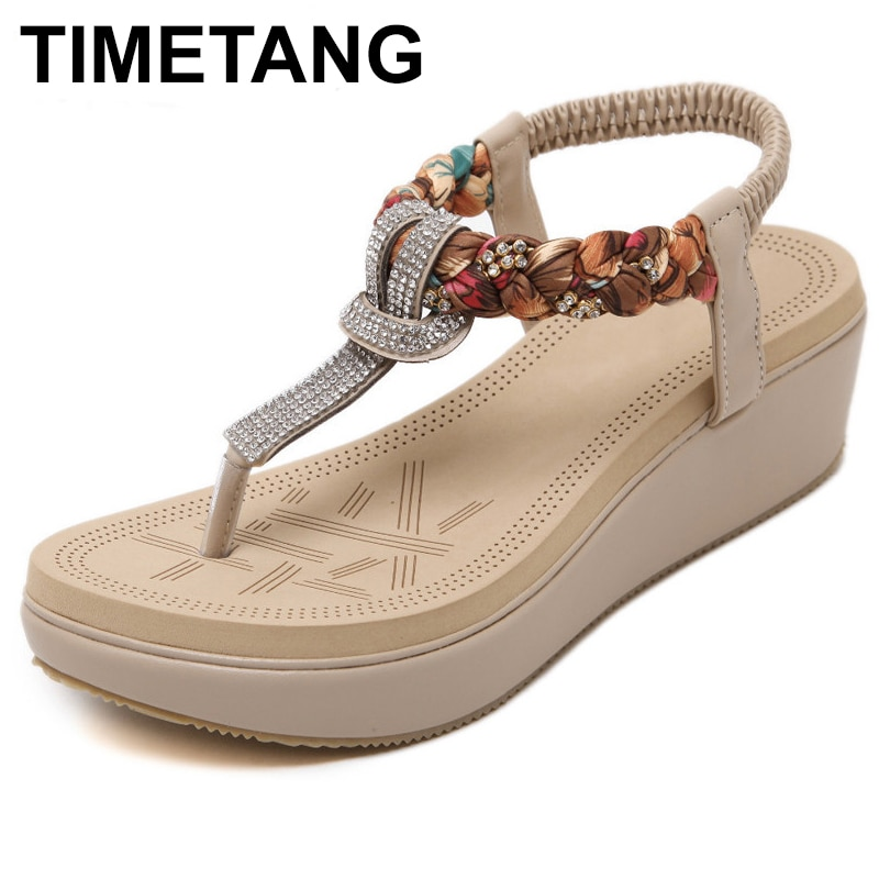 TIMETANG Women Shoes New Fashion Summer Women Elastic Band Sandals Rhinestone With Leisure Beach Shoes C053