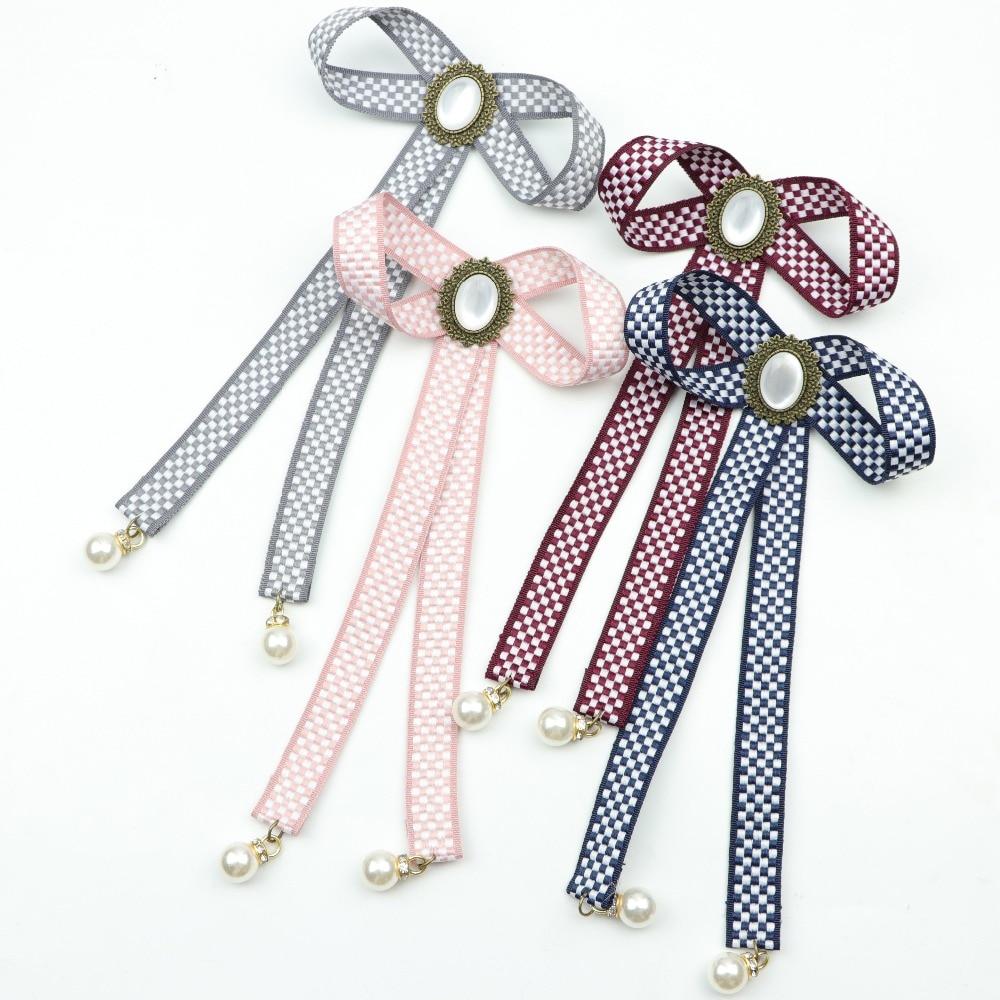 Women Bow Tie Vintage Cameo Lady Head Ribbon Tassel Brooch Chic Girls Elegant Costume Jewelry Collar Pin Girl Cravat Small Bell