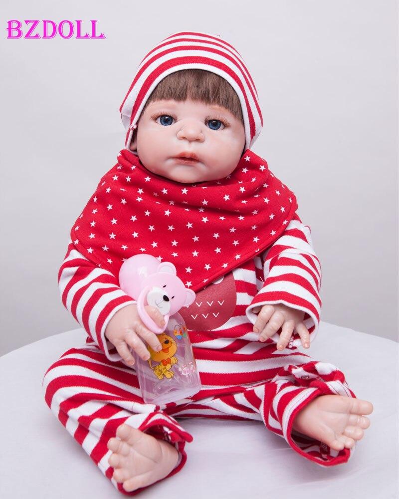 55cm Full Body Silicone Reborn Baby Doll Newborn Girl Bebe Birthday Christmas Gift Girls Brinquedos Bathe Shower Toy