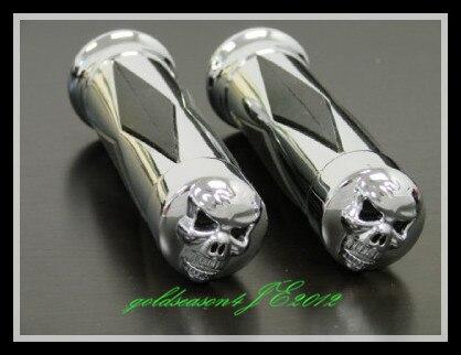 "1 ""cromo mano con calavera empuñaduras para Harley Touring Electra Street Glide Road King"