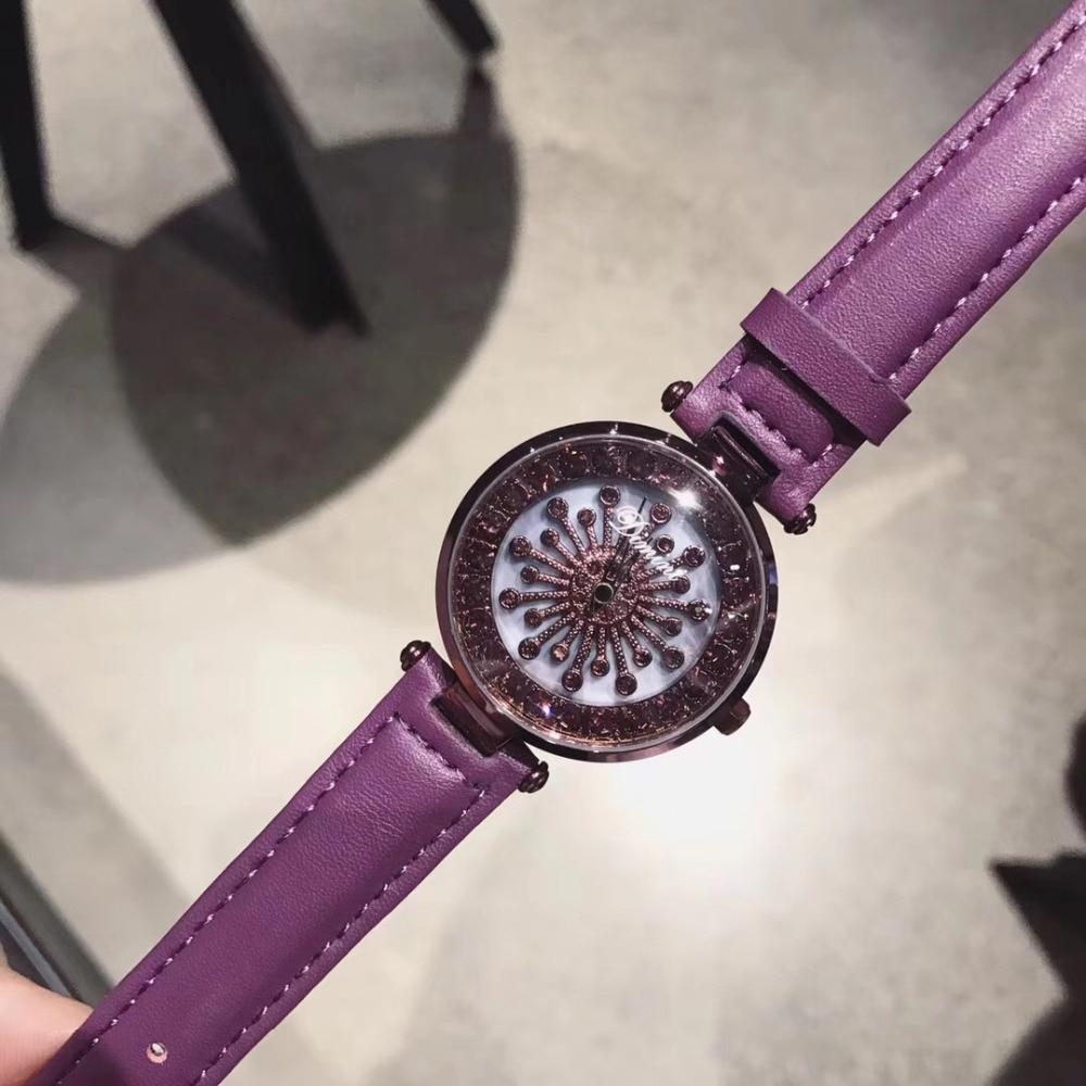 Relojes giratorios de cristal con flores de marca a la moda para mujer, correa de cuero auténtico púrpura bonito, reloj de pulsera giratorio de buena suerte