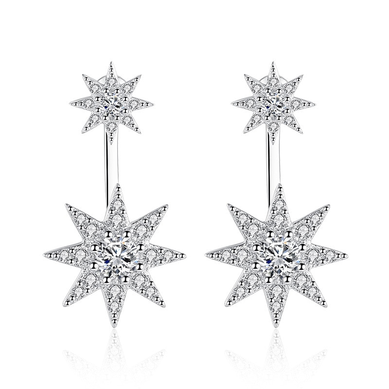 100% 925 sterling silver fashion shiny cz zircon star ladies`stud earrings women jewelry female gift wholesale drop shipping