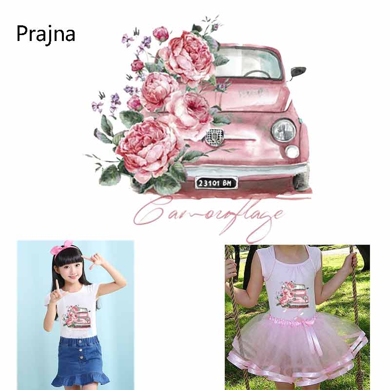 Parches de coche flor Rosa Tractor transferencia de calor para la ropa Thrasher. Patrón de coche DIY T-Shirt Parche moda decoración pegatinas D