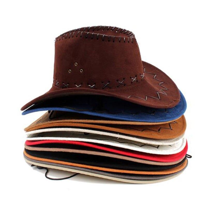 1 Pcs Fashion New 2019 Sun Hat Faux Leather Cowboy Hat Men and Women Travel Caps Fashion Western Hats Chapeu Cowboy