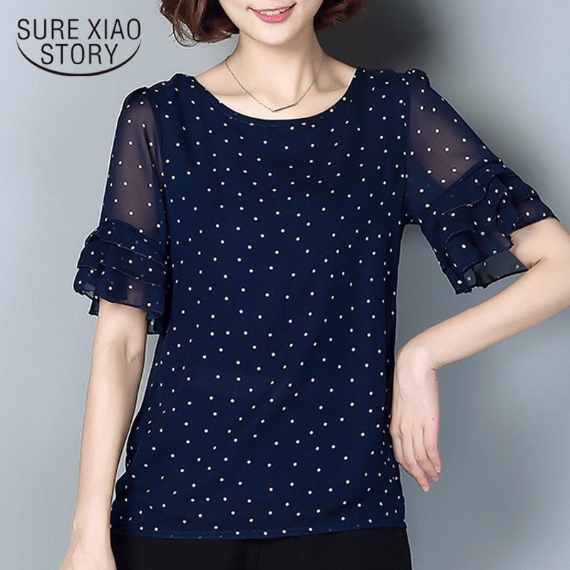 NEW 2019 women's chiffon blouse short sleeve Plus Size 4xl 5xl polka dot thin Top Casual Shirt Femme Clothing Pink White 4010 50