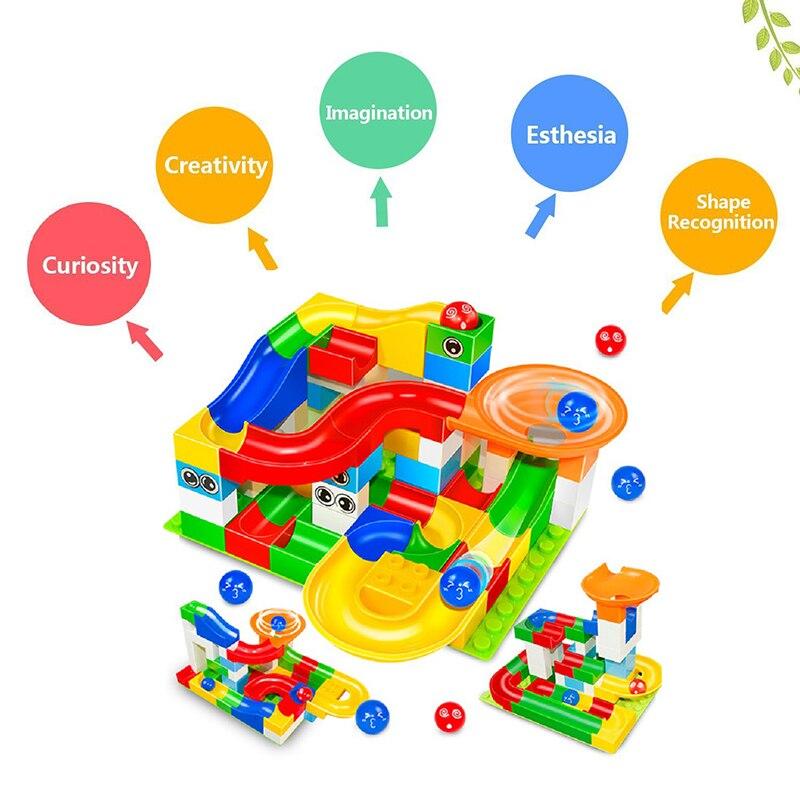 Grande Corrida Corrida Slideway Bola Labirinto Trilha Building Blocks Modelo Educacional Monte Brickheadz Duplo Brinquedos de Inteligência Para crianças
