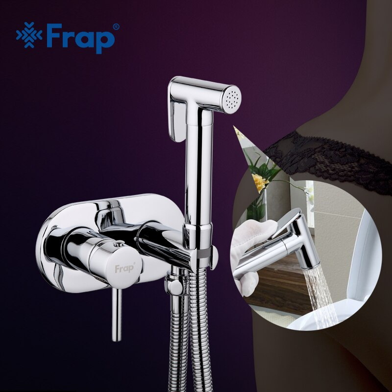 Frap-صنبور دش نحاسي بمقبض واحد ، صنبور حمام دائري مثبت على الحائط ، بخاخ بيديت ، F7505