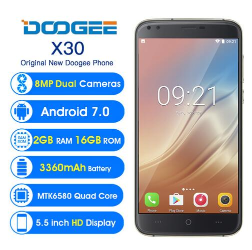 In Stock! DOOGEE X30 Four Cameras 3G WCDMA Android 7.0 Mobile Phone 3360mAh 5.5'' MTK6580A Quad Core 2GB 16GB Smartphone PK X60L